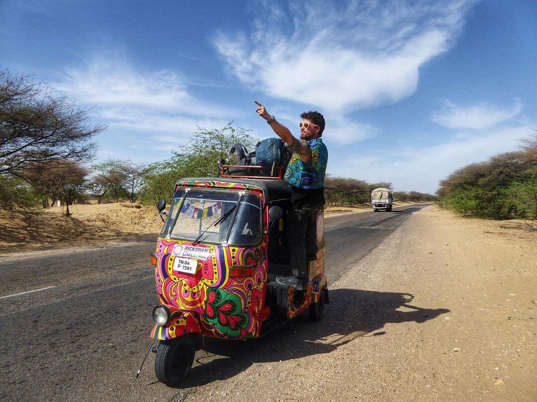 Will Hatton on a psychedelic tuk-tuk in India