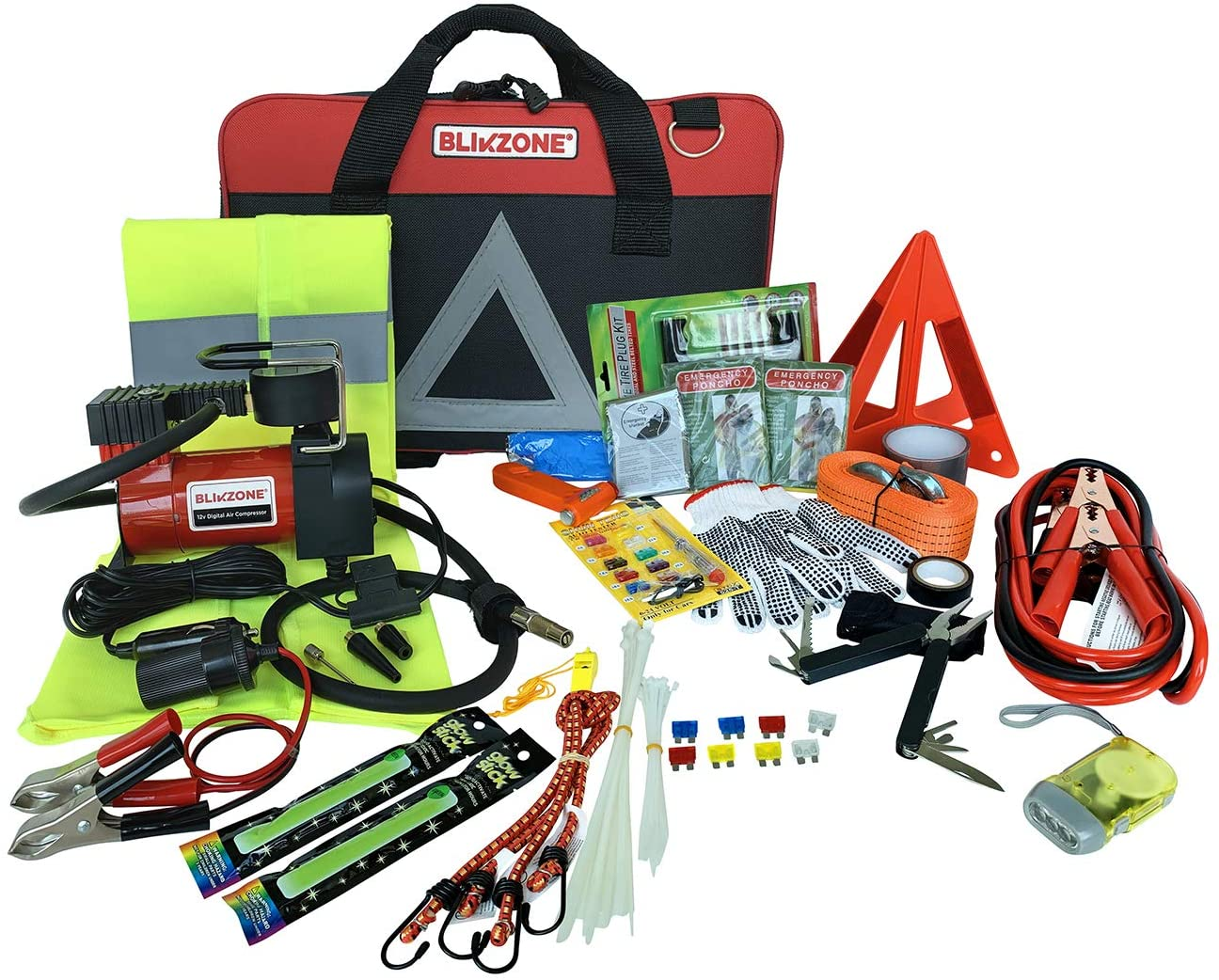 All the RV equipment packed into a roadside emrgency kit