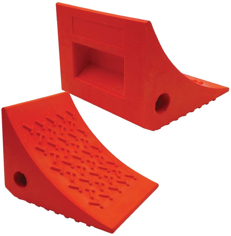 A pair of wheel chocks - necessary item for any RV takeoff checklist