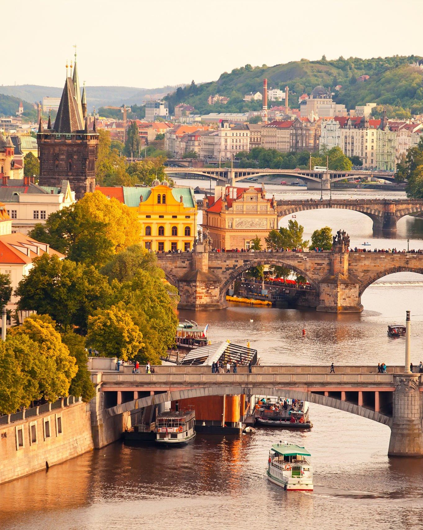 rivers and bridges in prague czech republic