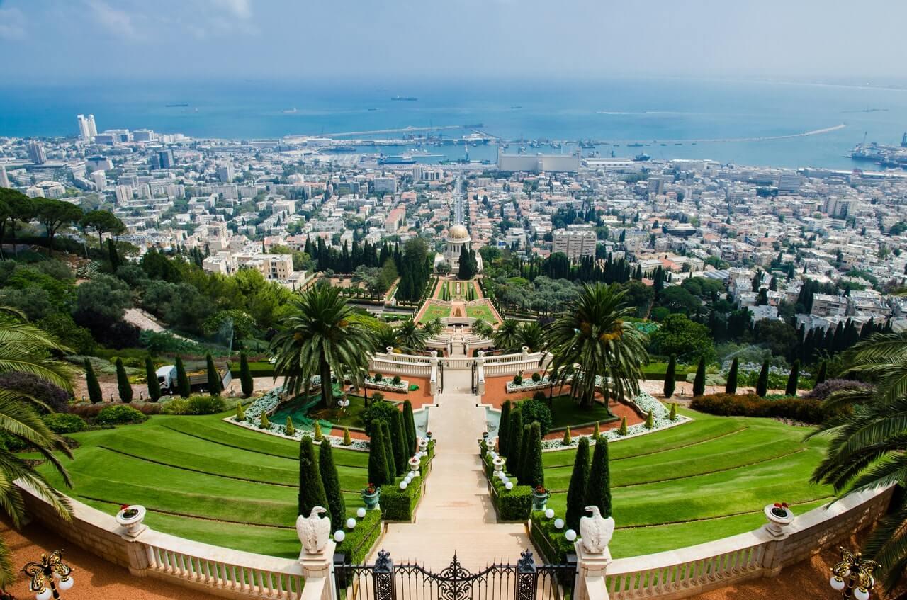 The view of the gardens and Haifa city from the Bahá'í World Centre