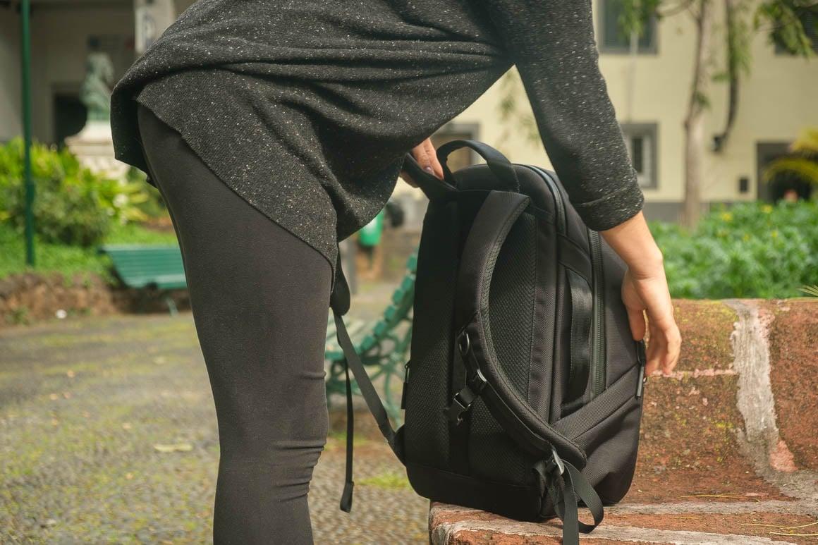 black backpack in a park