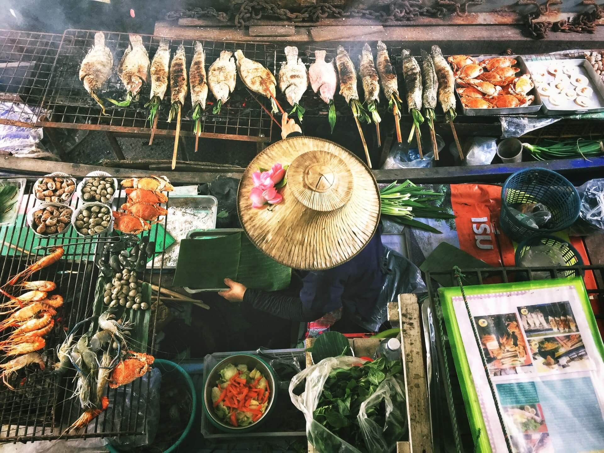 An amazing street food spread in Bangkok, Thailand