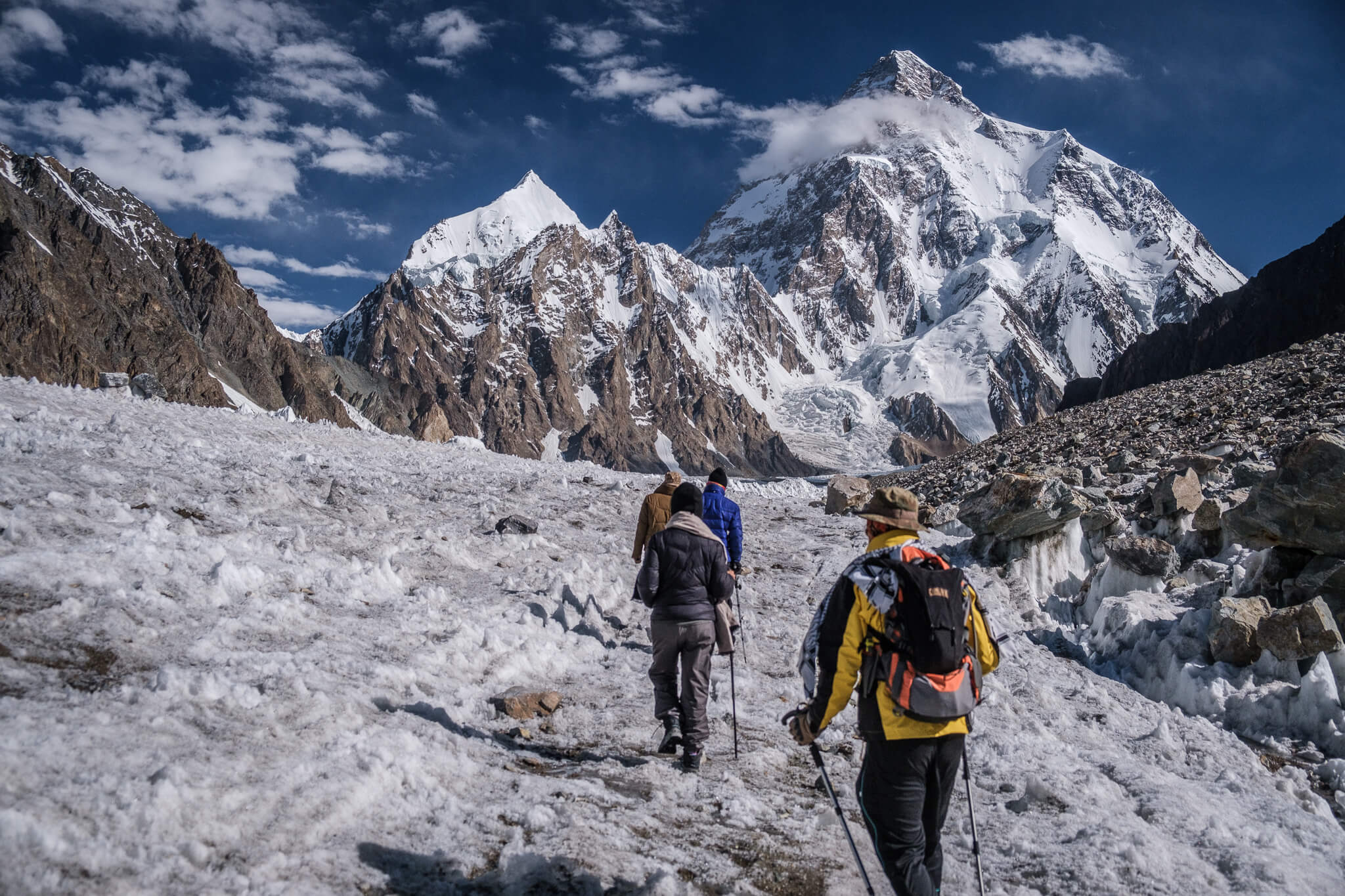 A group of trekkers travelling again in 2021 approach K2 and the K2 Base Camp