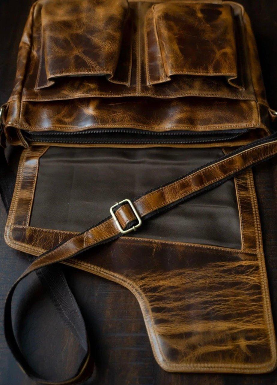 grain leather sling bag