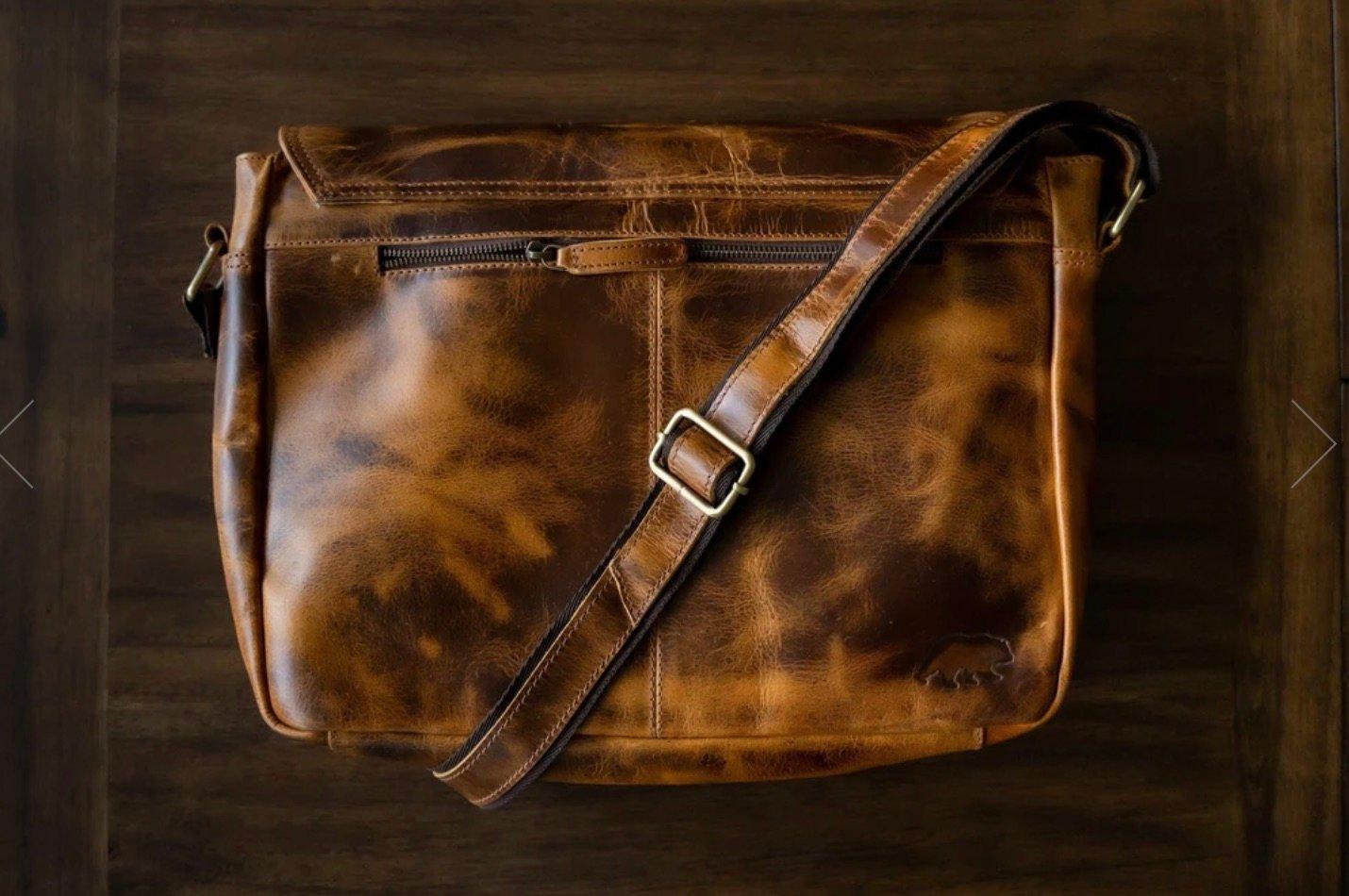 leather messenger bag brown