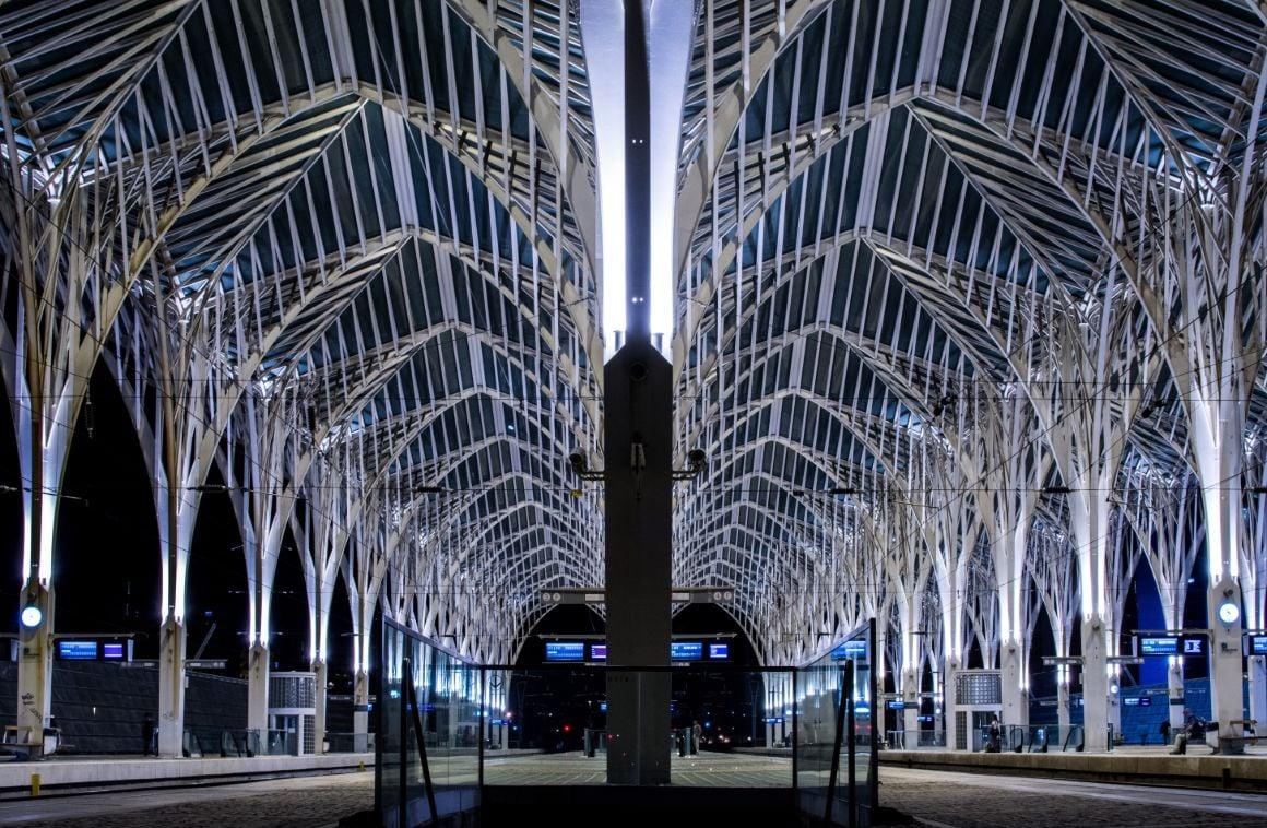 Gare do Oriente Train Station in Lisbon at Night