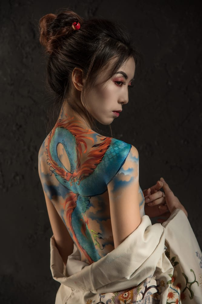 Japanese woman with back tattoo