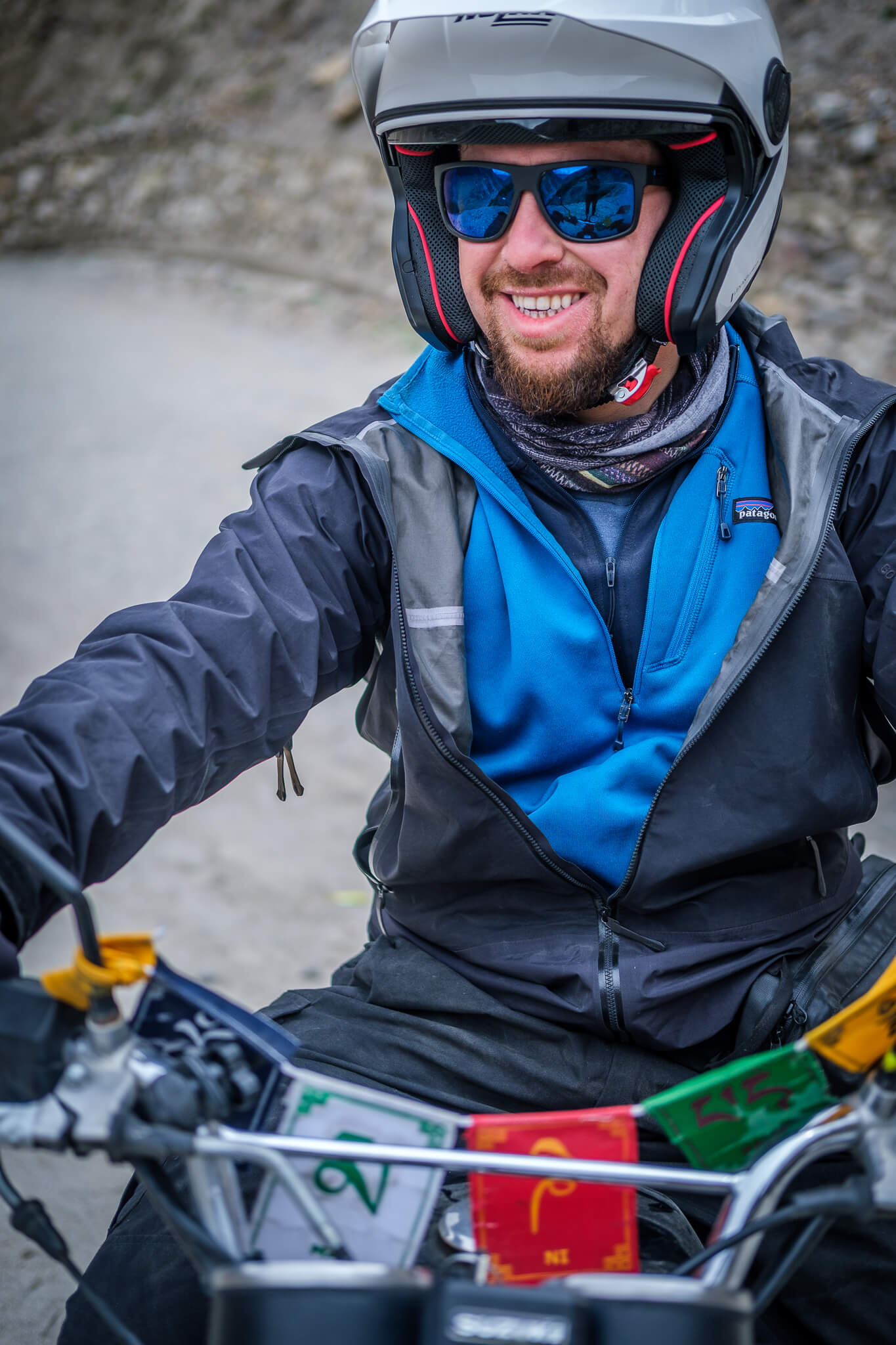 Will looking very happy on his bike in Pakistan