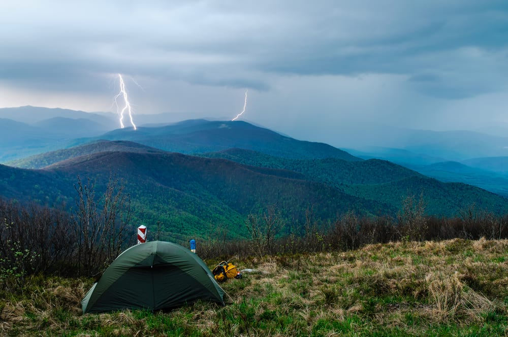 camping in a thunderstorm