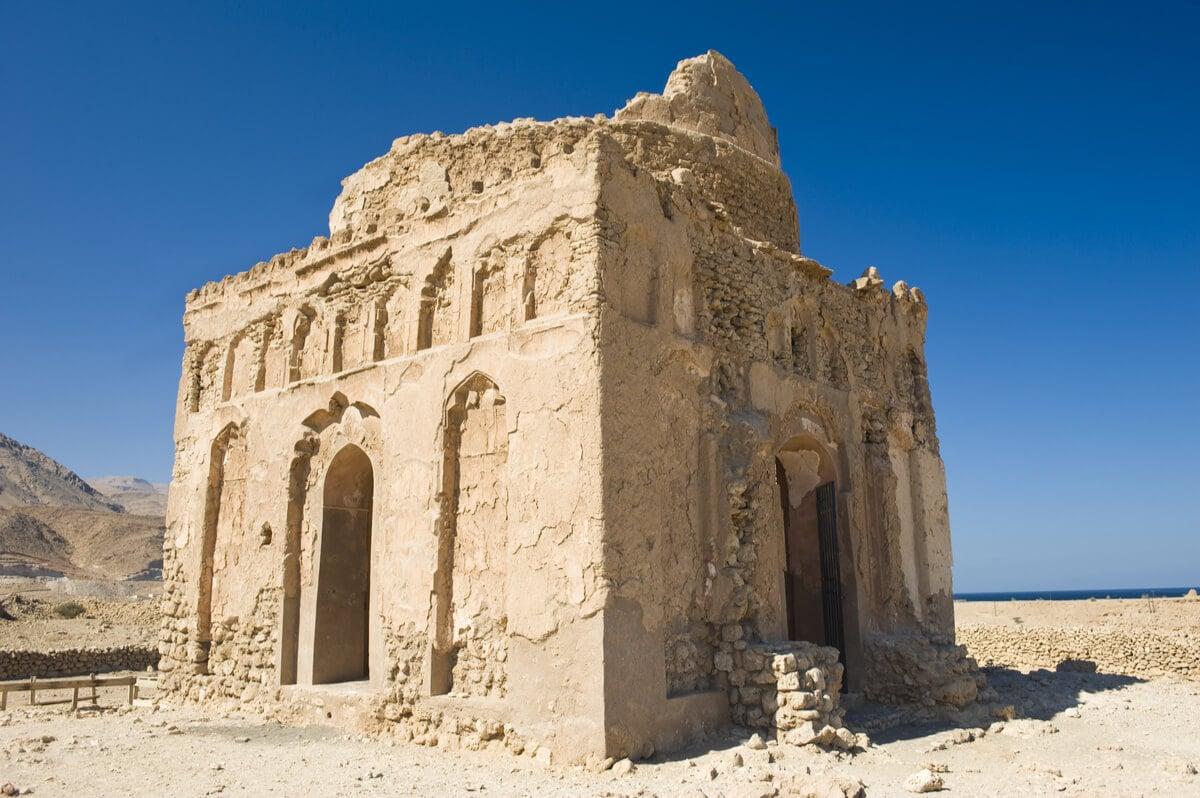 bibi maryam tomb against a blue sky in oman