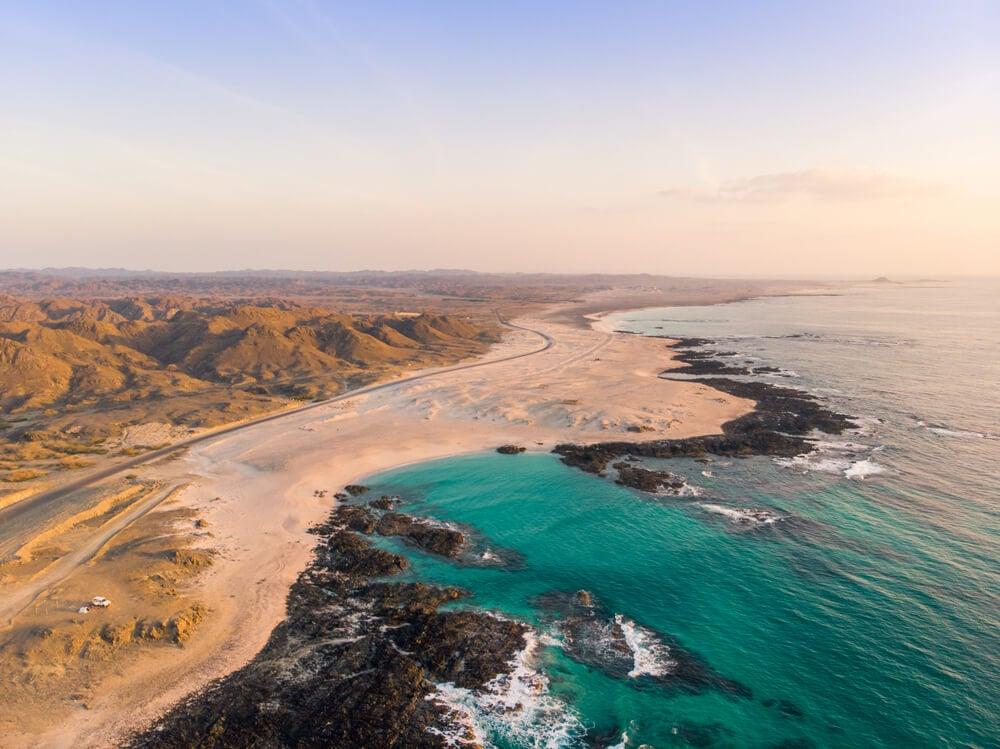 drone shot of masirah island oman