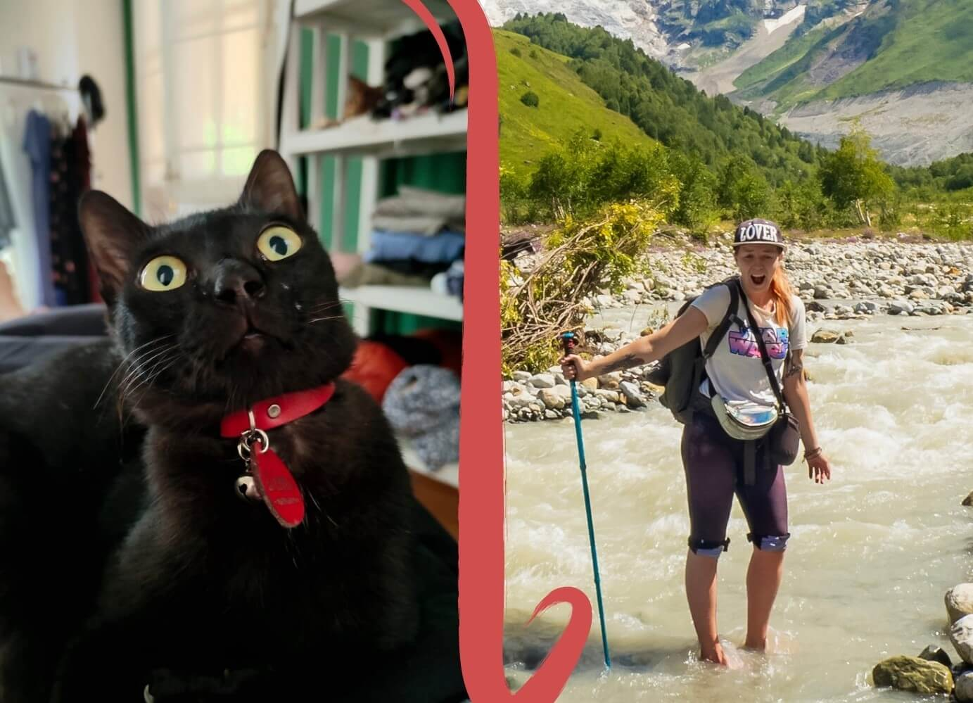 Elina and her cat Gizmo in a side-by-side comparison