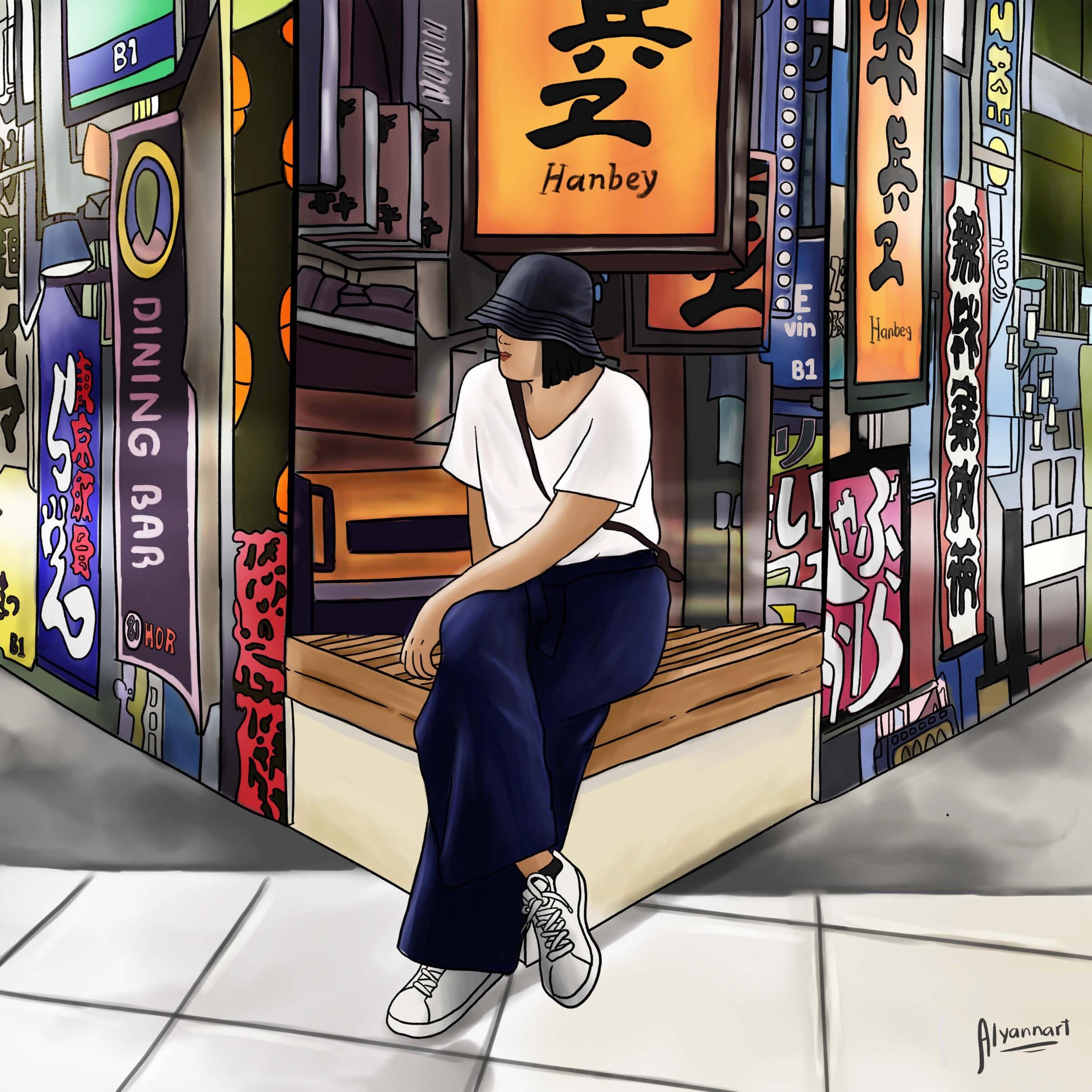 An artist's impression of Rhenz sitting in a Hong Kong street