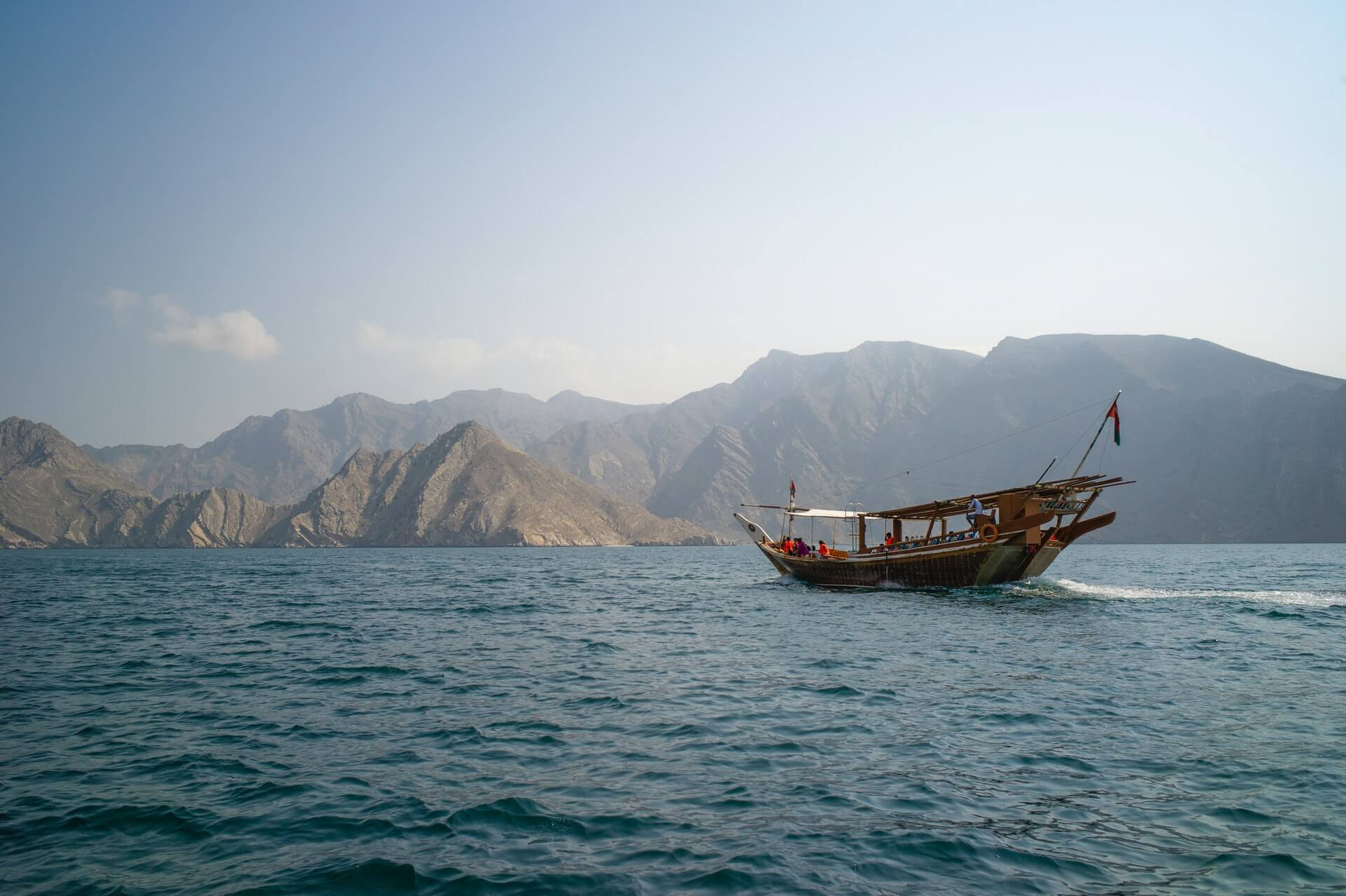 A tourist cruise in Oman in the waters of Musandam