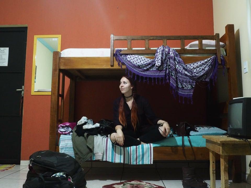 elina in a hostel dorm