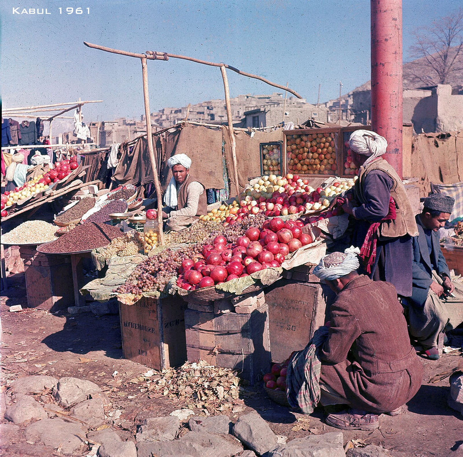 A photo of fruit markets in Kabul circa 1961.