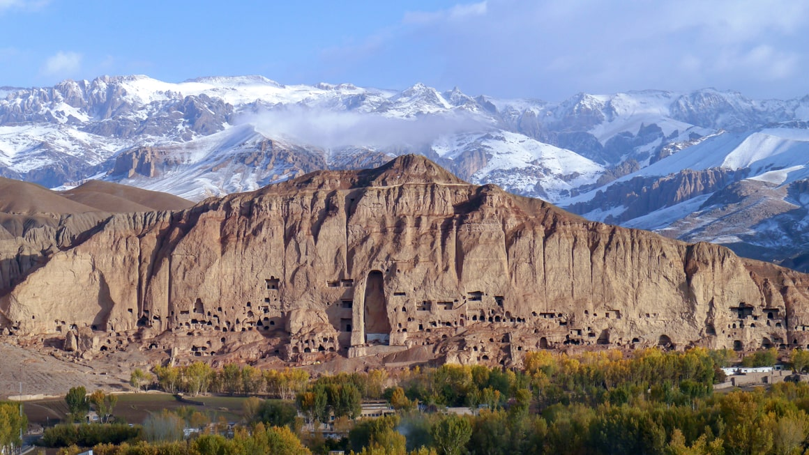 A mountainscape picture of Bamiyan, Afghanistan.
