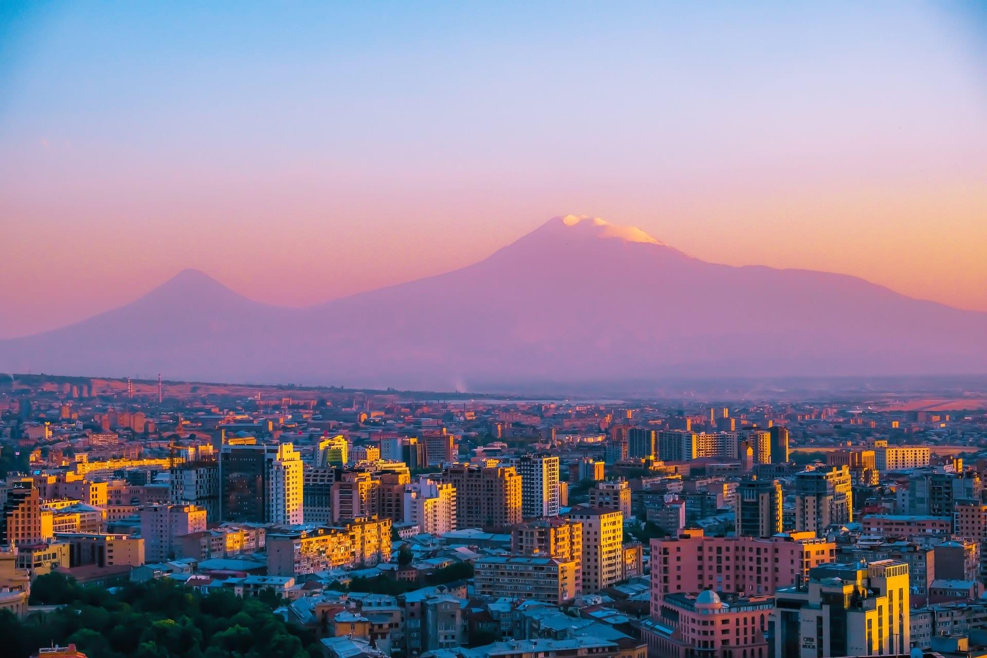sunset over yerevan