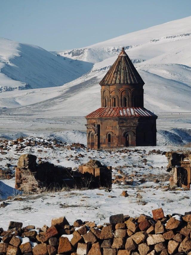 monastery in armenia in winter