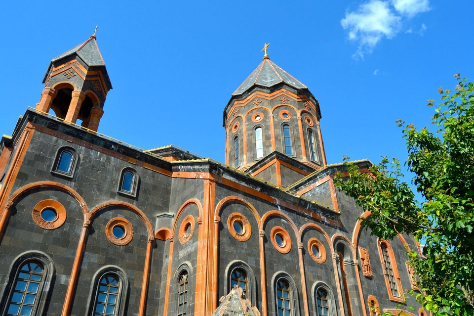 black and orange church in gyumri