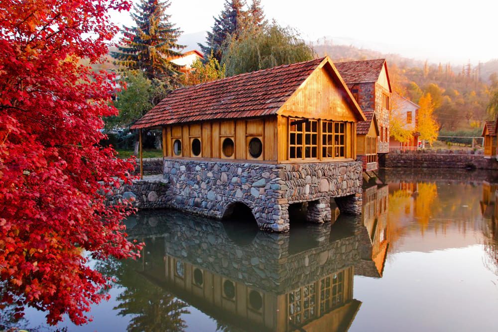 old building in dilijan armenia in autumn colours