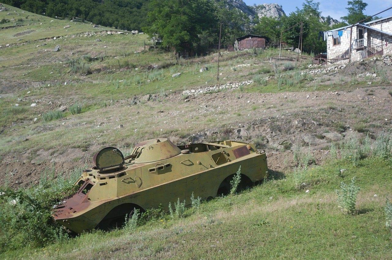 tank on a field in nagorno-karabakh