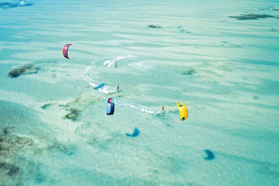 Kitesurfing French Polynesia.