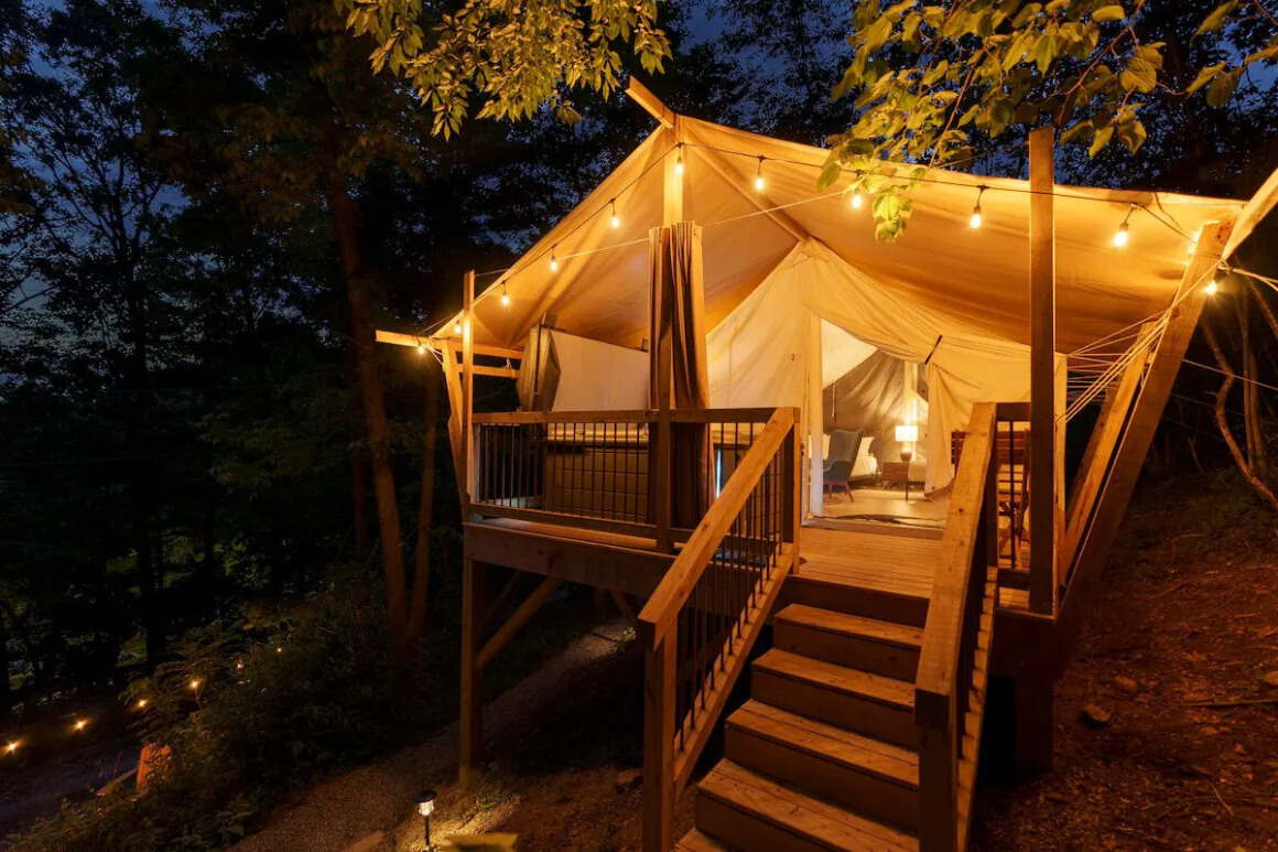 Luxury Glamping Tent with Jacuzzi