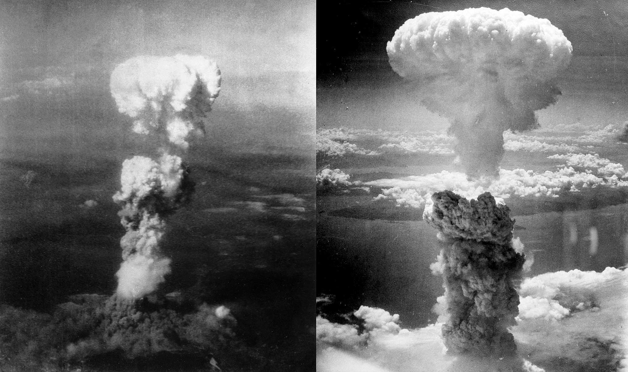 An atomic bomb going off as a black and white photograph