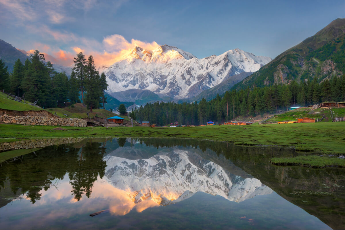 nanga parbat at sunset as seen from fairy meadows