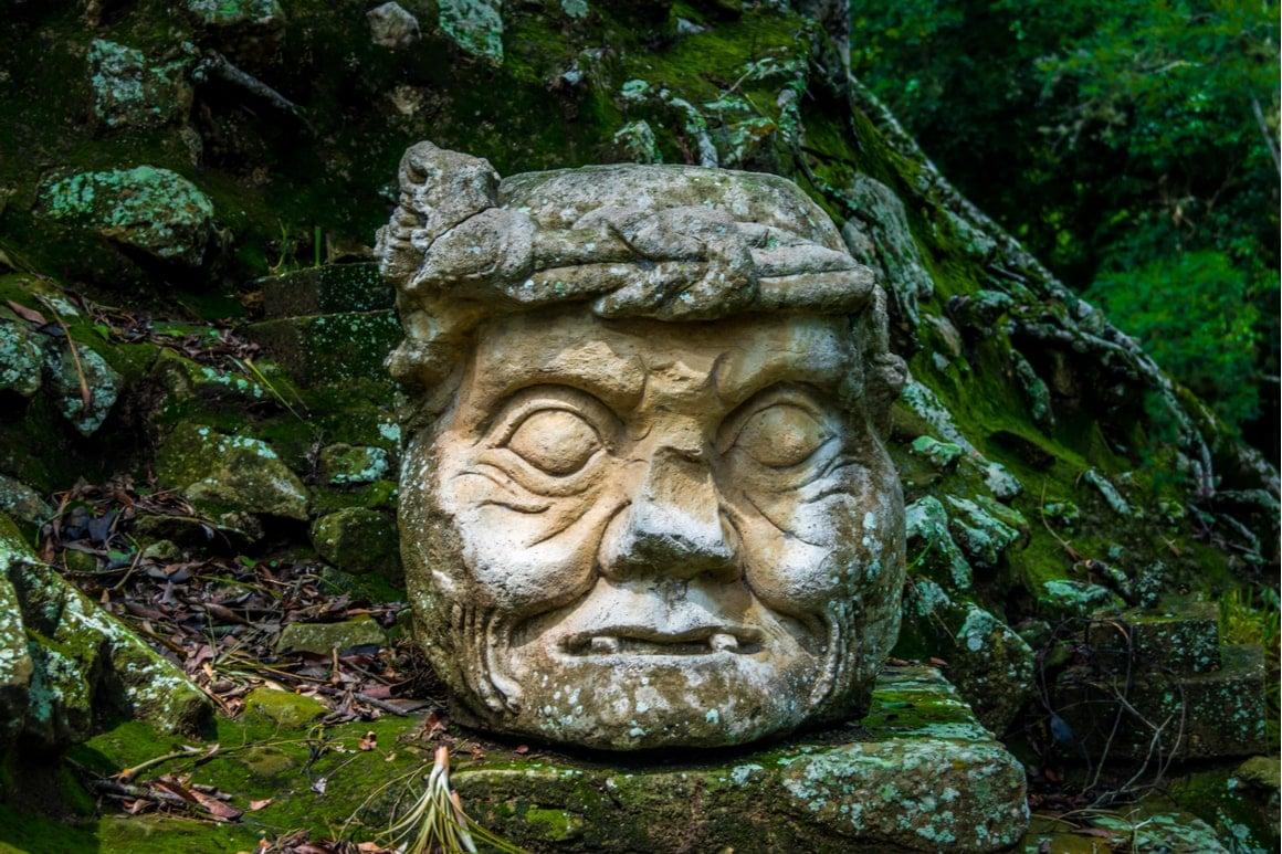 A crumbling face in the mayan jungle of Honduras.