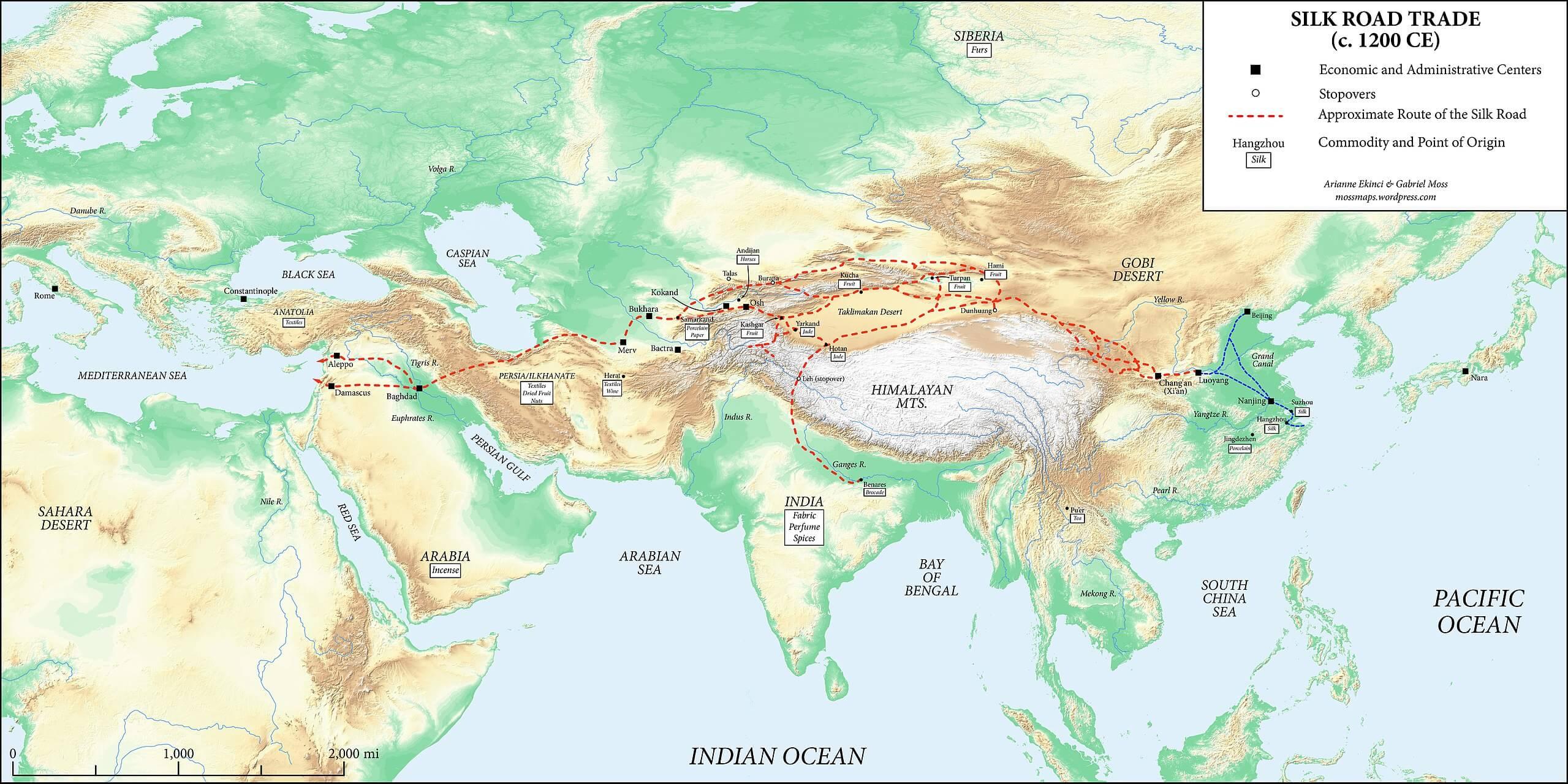 A map od the Silk Road circa 1200 CE.